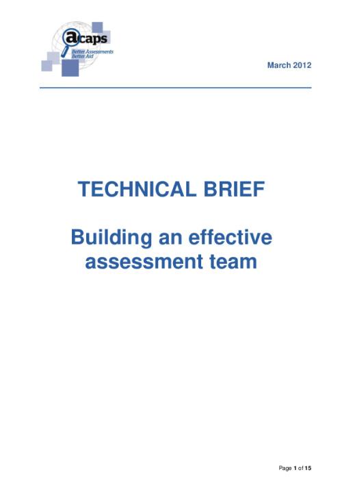 Technical Brief: Building an Effective Assessment Team