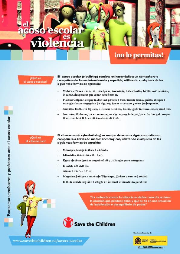 El acoso escolar es violencia. ¡No lo permitas! Consejos para profesores y profesoras ante el acoso escolar