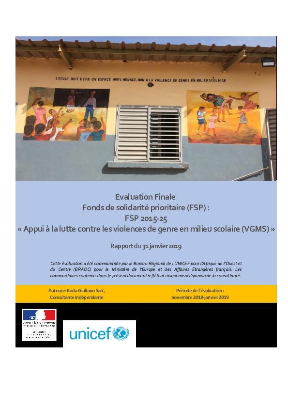 Evaluation Finale - Fonds de solidarité prioritaire 2015-25