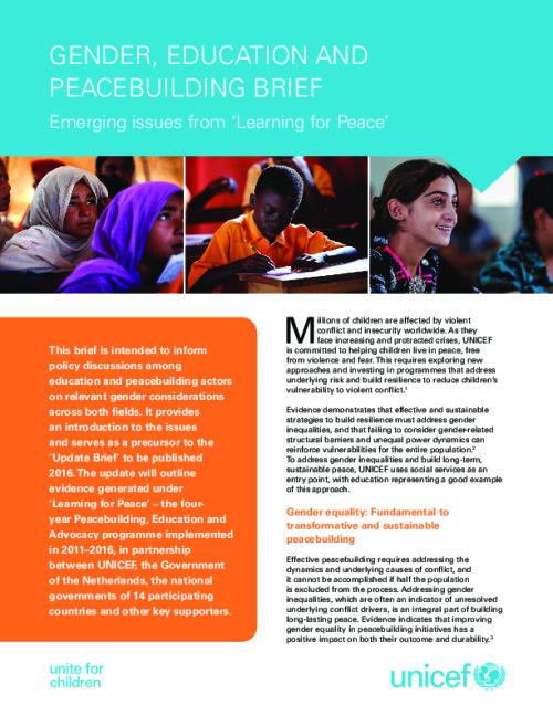 Gender, Education and Peacebuilding Brief