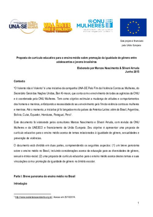 Proposta de currículo educativo para o ensino médio sobre promoção da igualdade de gênero entre adolescentes e jovens brasileiros