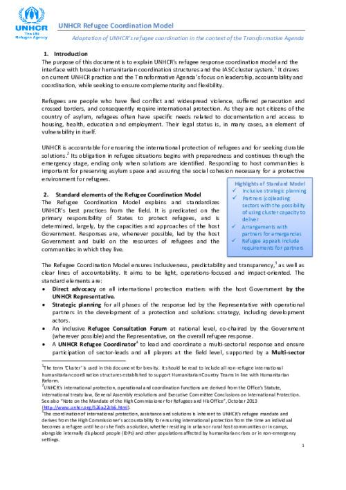 UNHCR Refugee Coordination Model